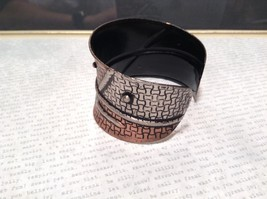 Handcrafted Pewter Based Metal Brass Hammered Wide Cuff Bracelet Relief image 3