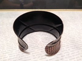 Handcrafted Pewter Based Metal Brass Hammered Wide Cuff Bracelet Relief image 4