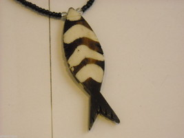 Handcrafted Wooden Fish Pendant Beaded Necklace image 2