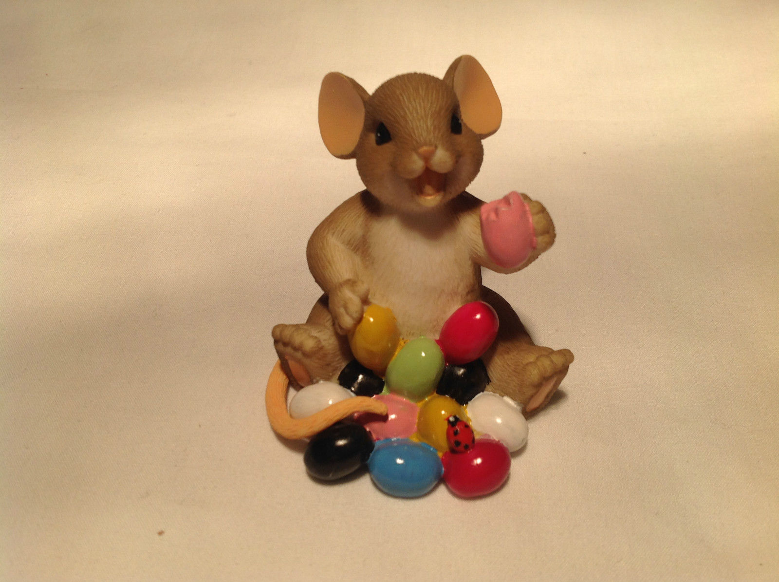 I Love My Yum Yums Charming Tails Figurine Mouse Eating Colored Jellybeans