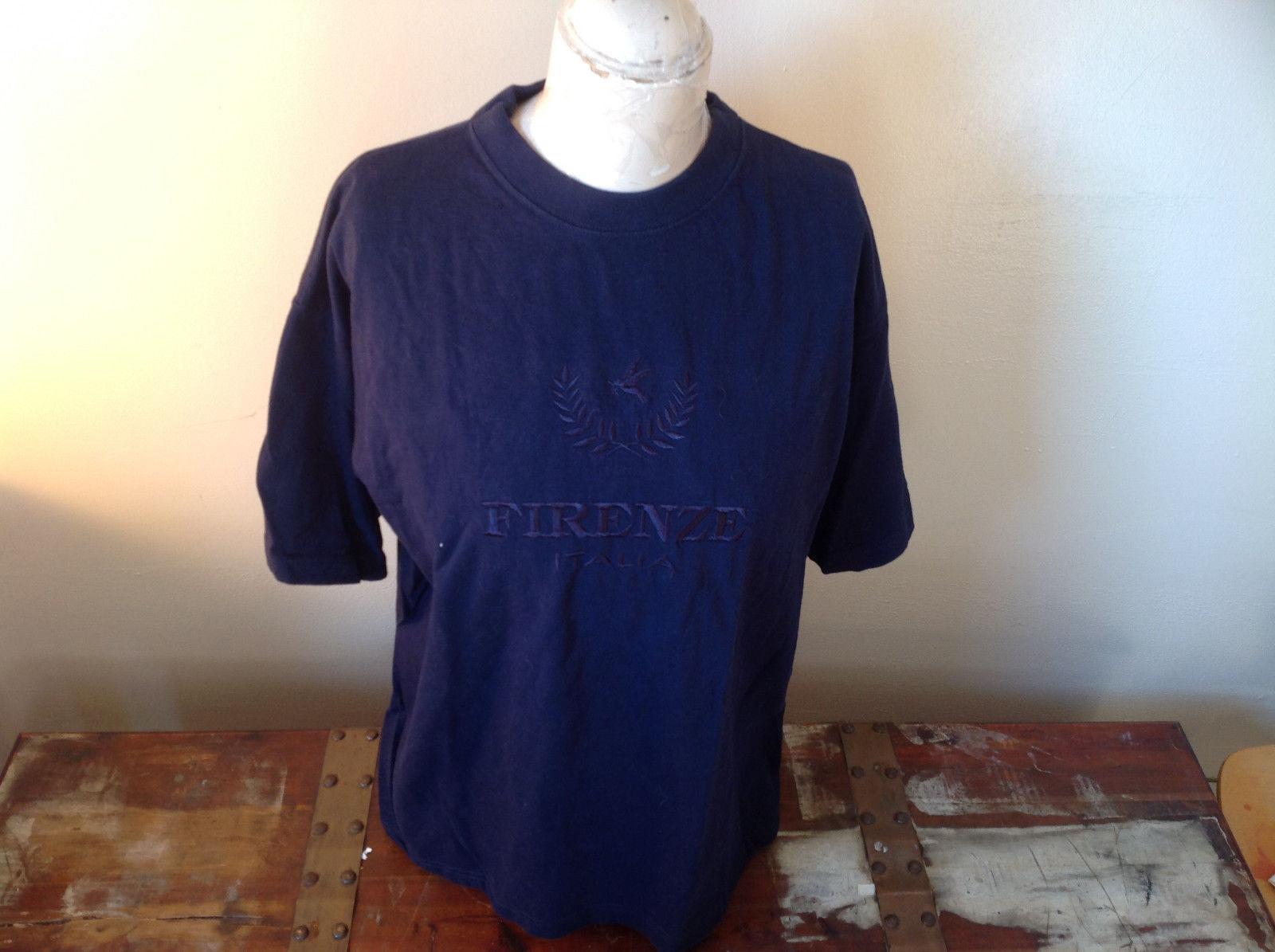 I E Baron Dark Blue Short Sleeve T-Shirt  Firenze Italia Embellished Size XL
