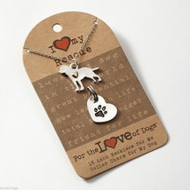 I love my rescue dog Necklace w gold heart w charm for your dog's collar SET