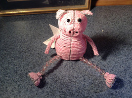 Handcrafted Pink Beadworx Pig Wire Sculpture Grass Roots Measurements Below image 3