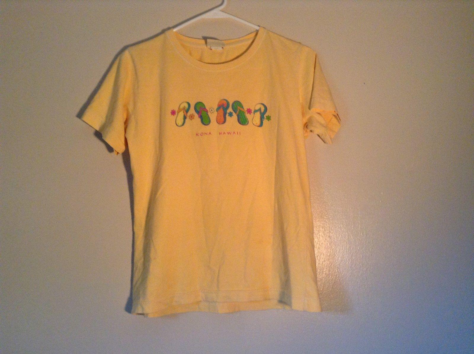 ICantoo Casual Wear Yellow Short Sleeve T Shirt Kona Hawaii Flip Flops Size S