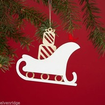 Laser Wood Ornament Flourish  Woodland Sleigh with presents image 3