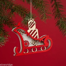 Laser Wood Ornament Flourish  Woodland Sleigh with presents image 2