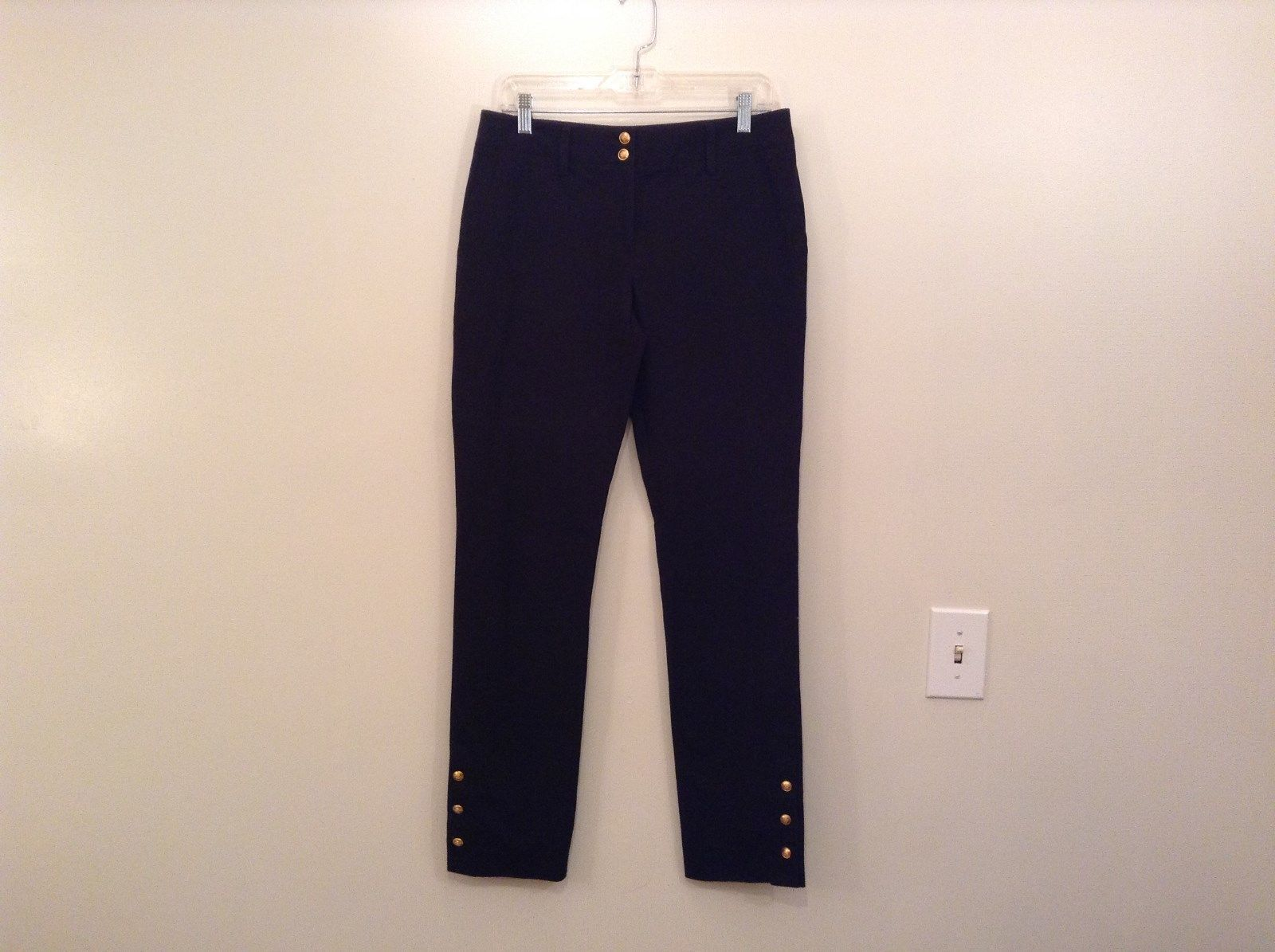 INC International Concepts Black Pants Chain and Decorative Buttons Size 6