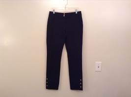 INC International Concepts Black Pants Chain and Decorative Buttons Size 6 image 1