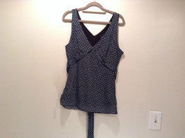 IZ Black with Teal Dots V Neck Front and Back Sleeveless Top Size Large - $29.69
