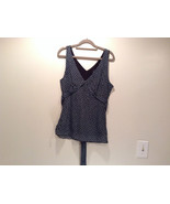 IZ Black with Teal Dots V Neck Front and Back Sleeveless Top Size Large - $39.99