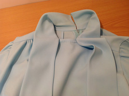 Handmade Baby Blue Long Sleeve Blouse Build-in Tie Bow , NO Size tag image 10