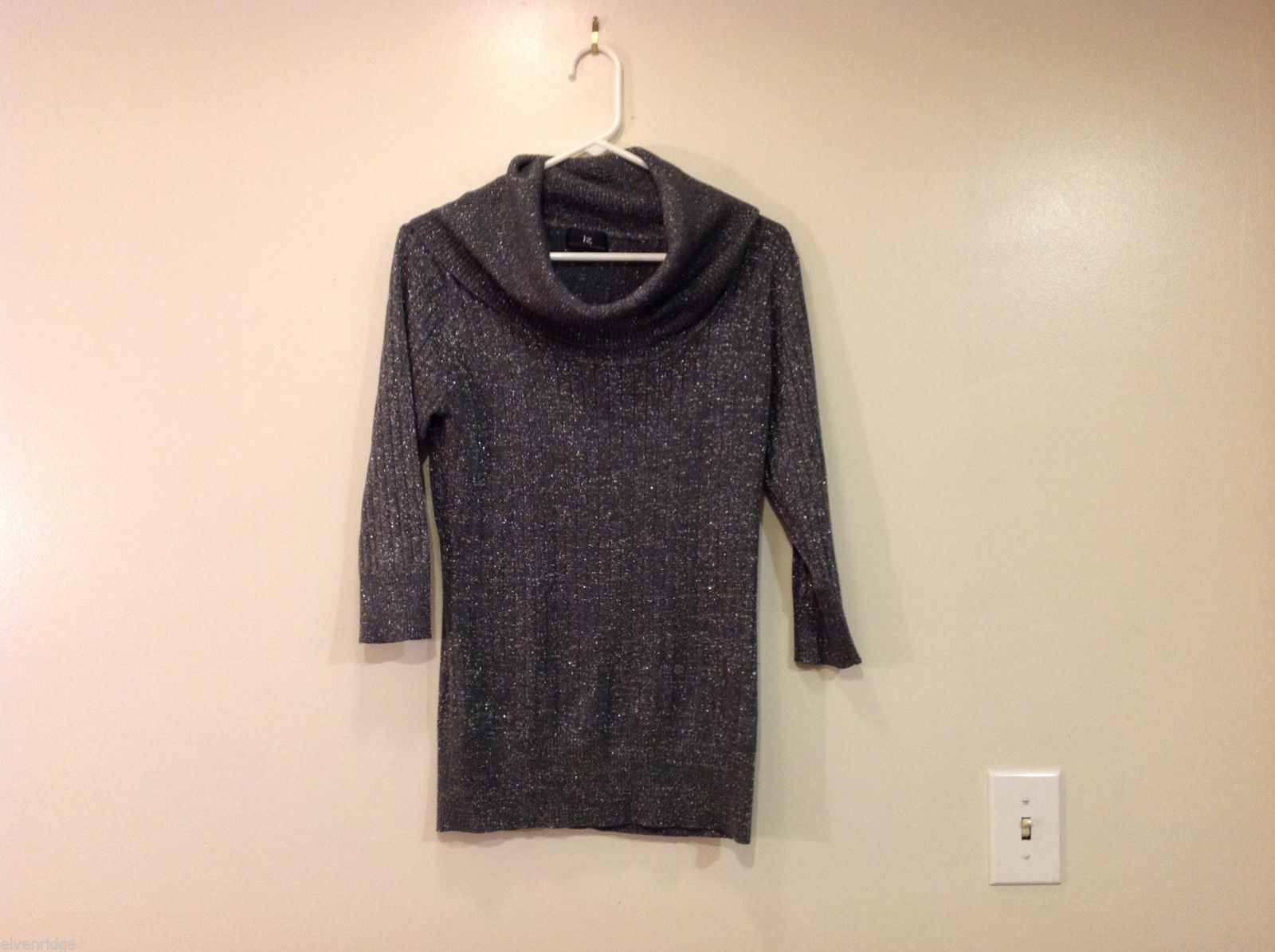 IZ Slouch Cowl Neck Gray Metallic Sweater, 3/4 sleeve, size XL