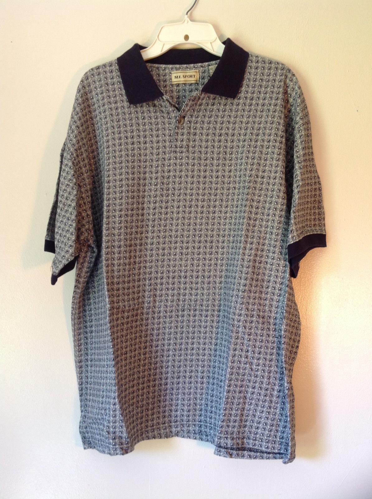 M E Sport Size XL Short Sleeve Polo Shirt Black and White Pattern Black Collar