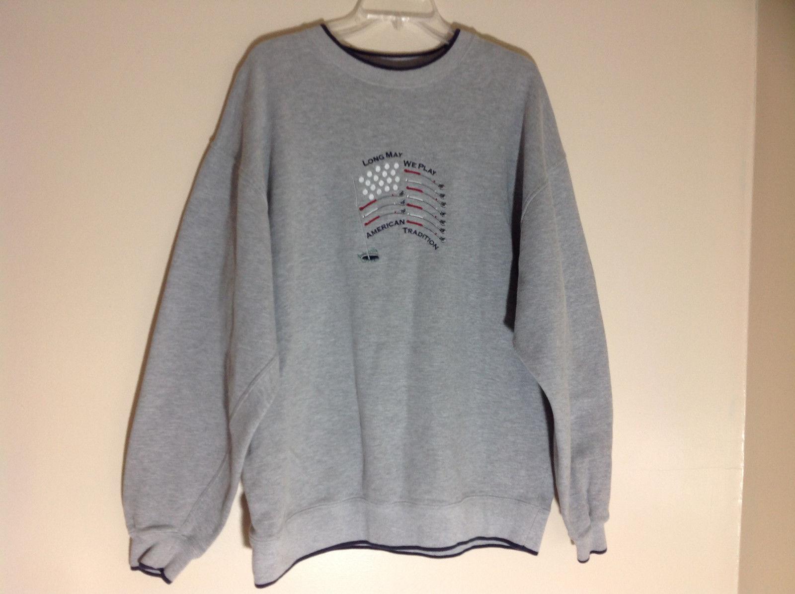 M & C Sport Gray Sweatshirt with Dark Blue Trim on Neck  Cuffs and Waist Size XL
