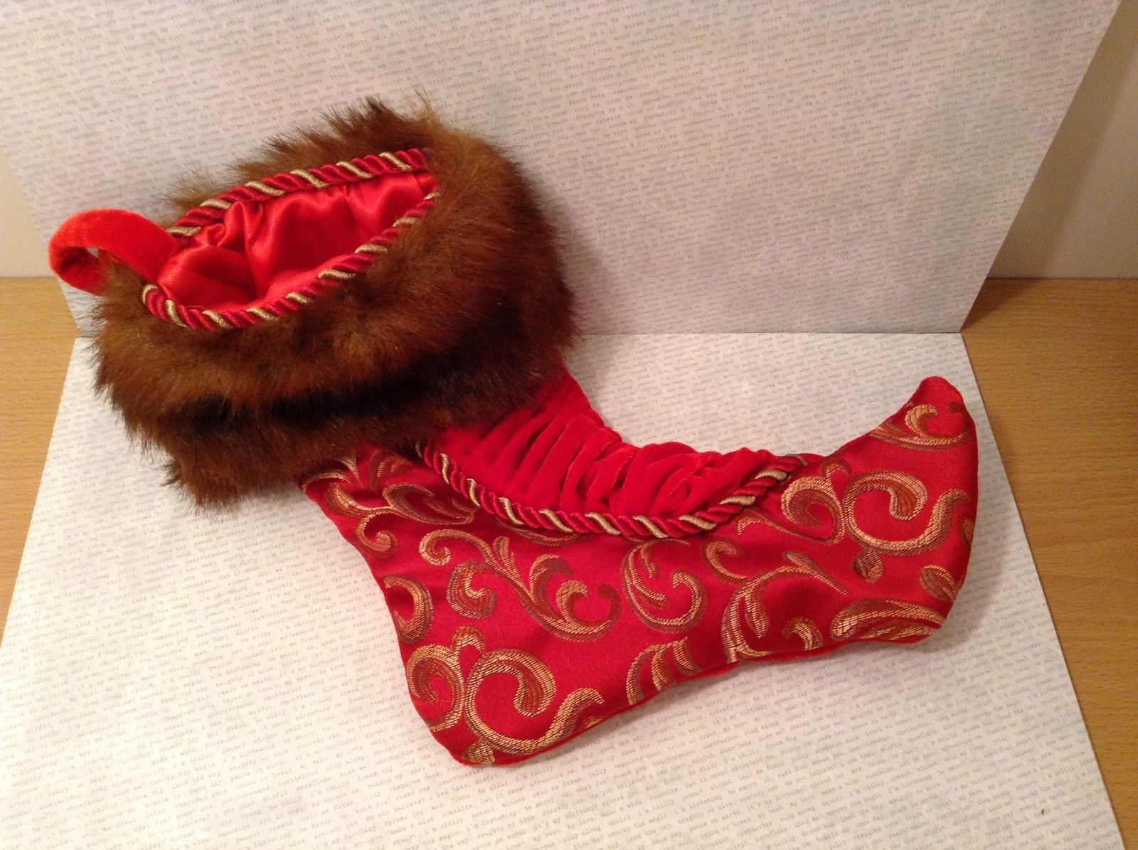 "Luxurious 16"" Red jacard and velvet w Faux fur trim stocking fully lined"