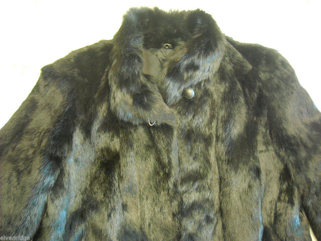 Luxurious black  fur coat full length size Medium