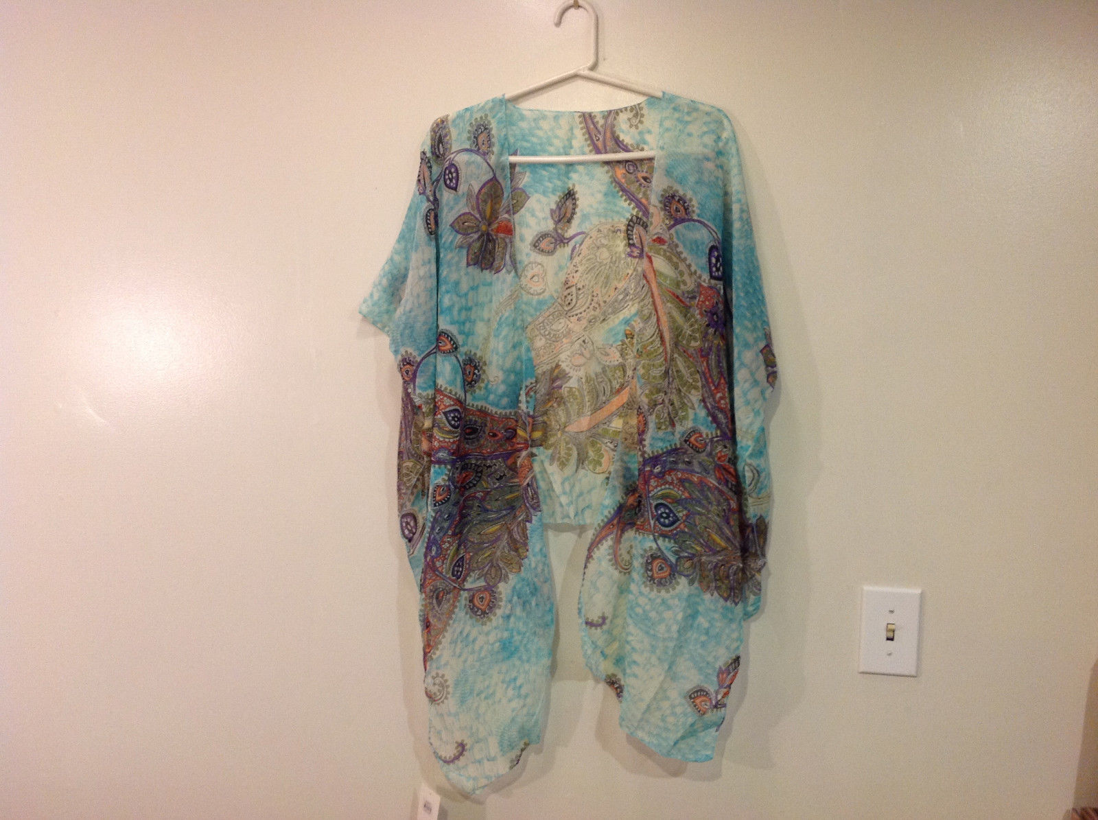 MAD fashion New Ms. Kimono Cover Up Top Blouse, one size fit all, Blue or Green