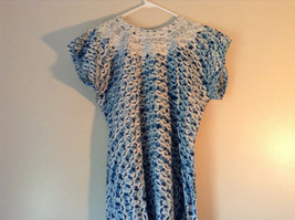 Handmade Dress Blue with White Design and White Circles on Top NO TAG image 10