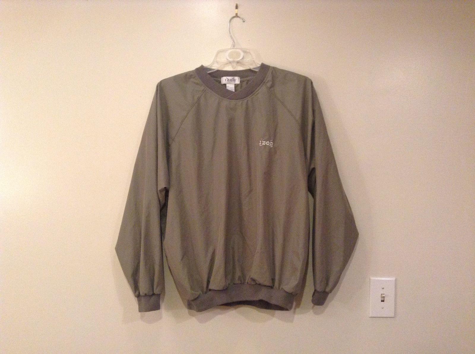 IZOD Gray Green Pullover Windbreaker V Neck Side Pockets Size Medium