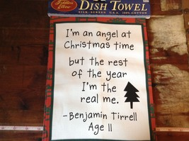 I'm an Angel at Christmas Time Fiddlers Elbow Christmas Dish Towel Made in USA