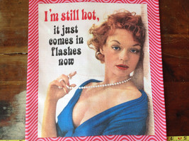 I'm Still Hot It Just Comes in Flashes Now 50s Woman Dish Towel