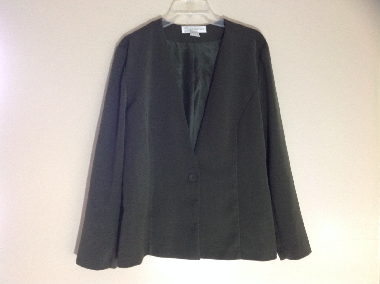 Ilyse Hart Ltd Forest Green Single Button Blazer Long Sleeves Size 12