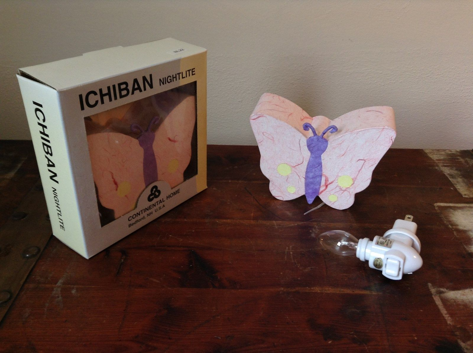 Ichiban Night Light Butterfly with Pink Wings Original Box Colorful US Outlet