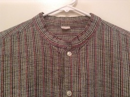 Handmade Size Large Long Sleeve Button Up Shirt Gray with Black and Red Stripes image 4