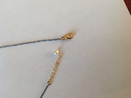 Handmade Zina Kao Flat Heart w CZ Bezel set Charm Necklace Gold w Black Chain image 6