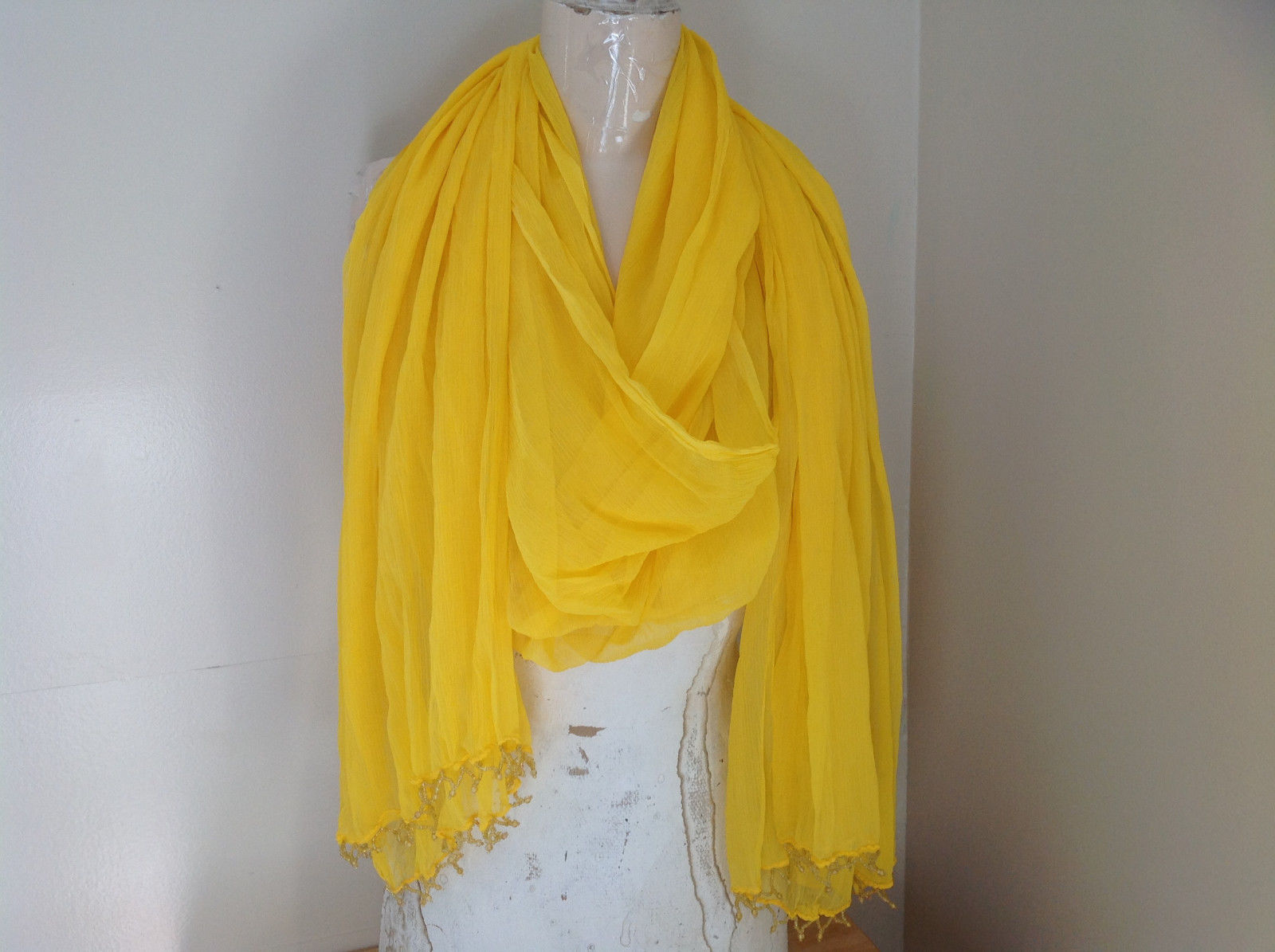 Indian Style Yellow Beaded Scarf Scrunched Design Tassels are Beaded