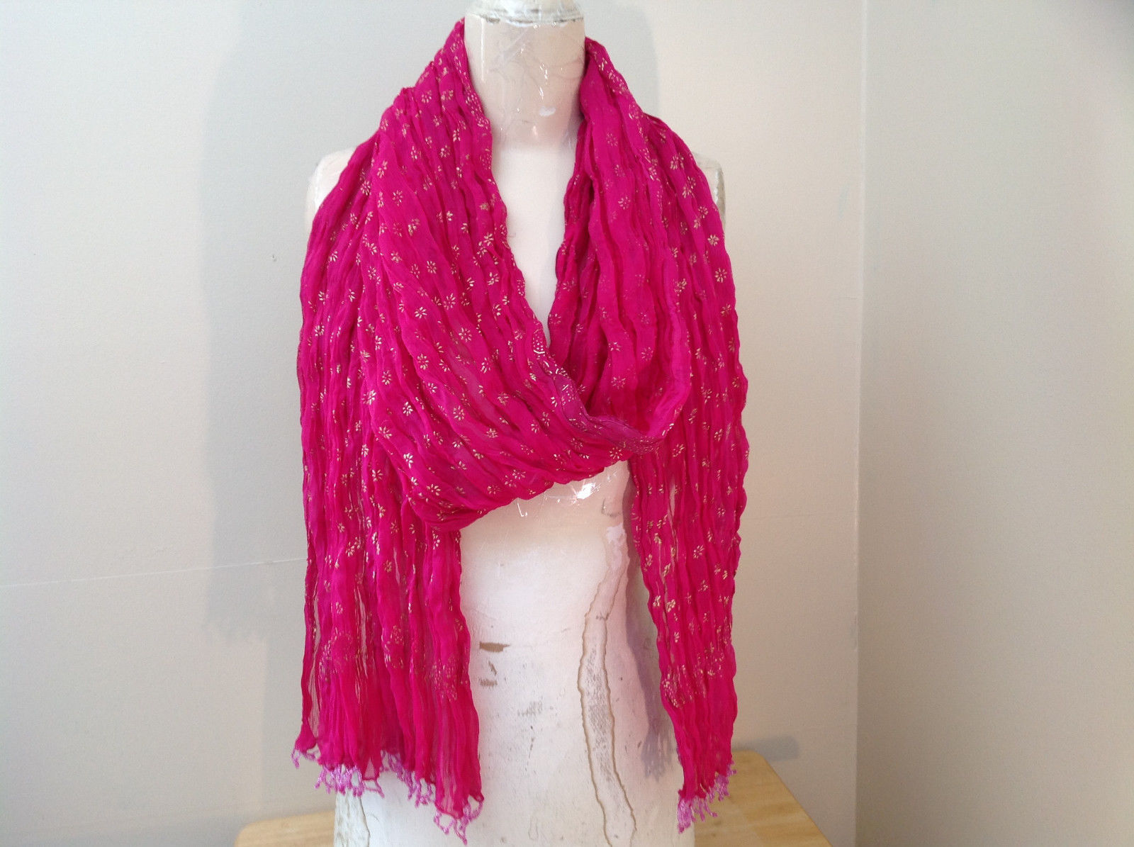 Indian Style Pink Scrunched Real Gold Stamped Embossed Scarf with Tassels