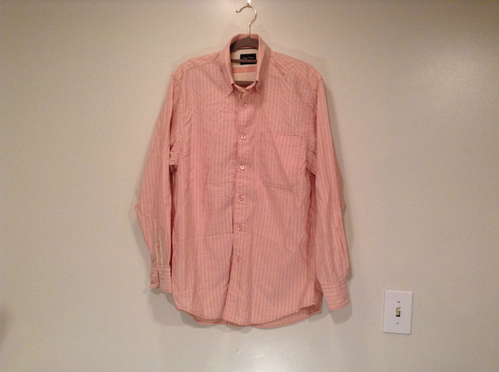 Indigo Palms Denim Company Long Sleeve Pink with Stripe Pattern Size M Shirt