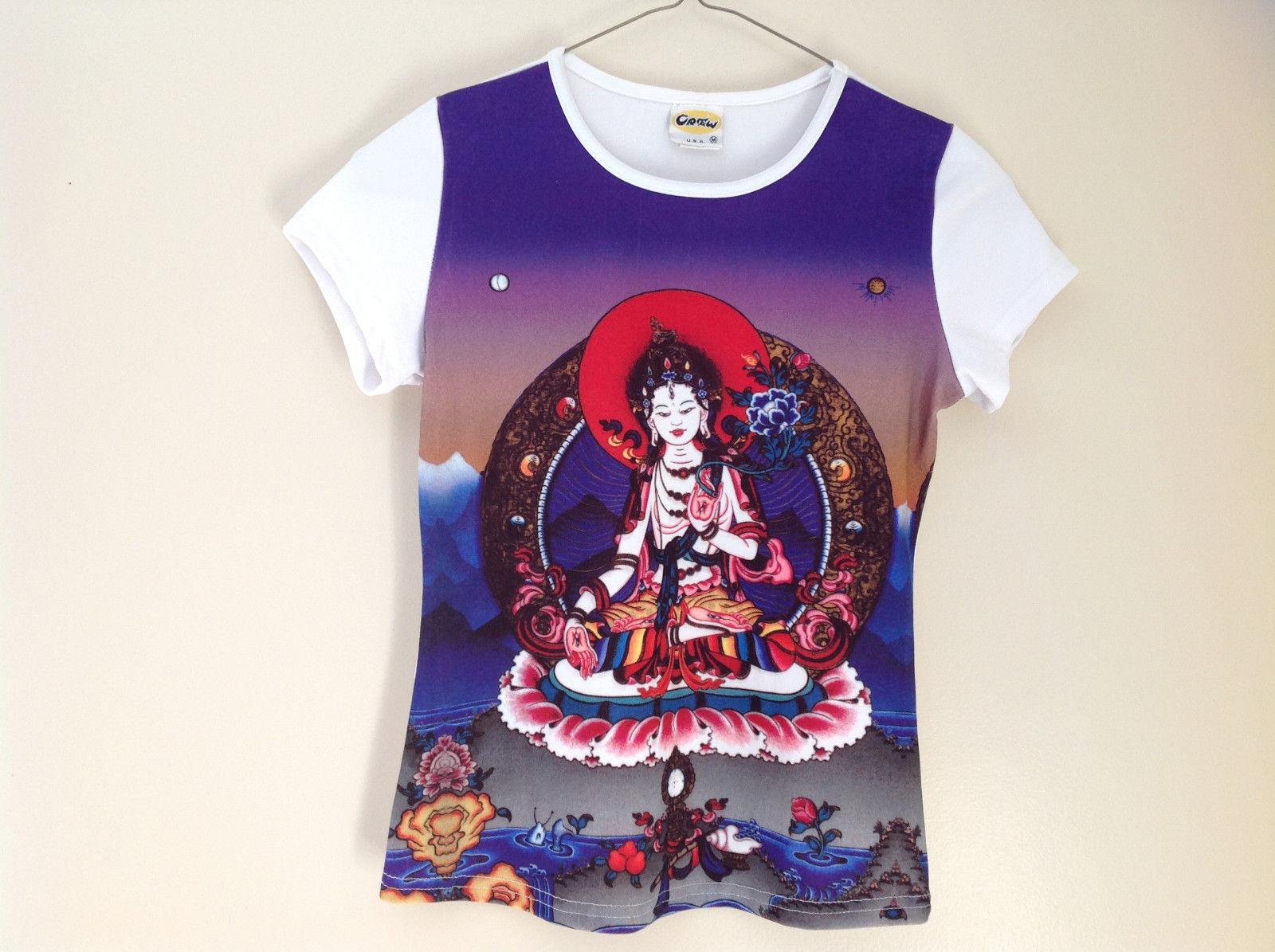 Indian Goddess Themed White Purple Short Sleeve Shirt Very Colorful Size Medium