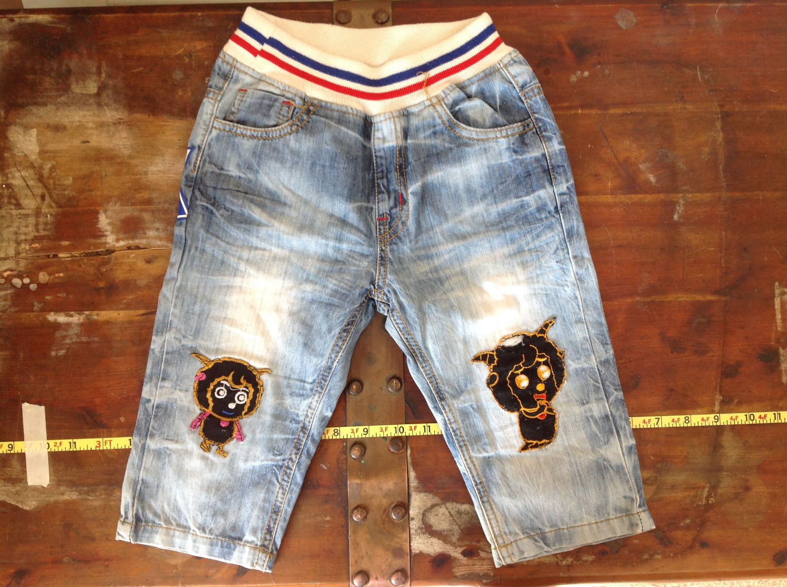 Infant Soft Stretch Waistband Jeans with Designs Pictures Front and Back NO TAGS