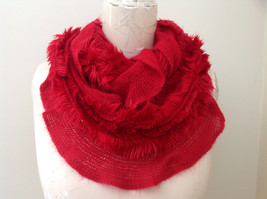Infinity Pretty Red Frilly Furry Scarf Length One Side 28 Inches