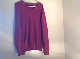 Maroon Dark Red Lands End V Neck Shaped Stretchy Casual Sweater Size Large