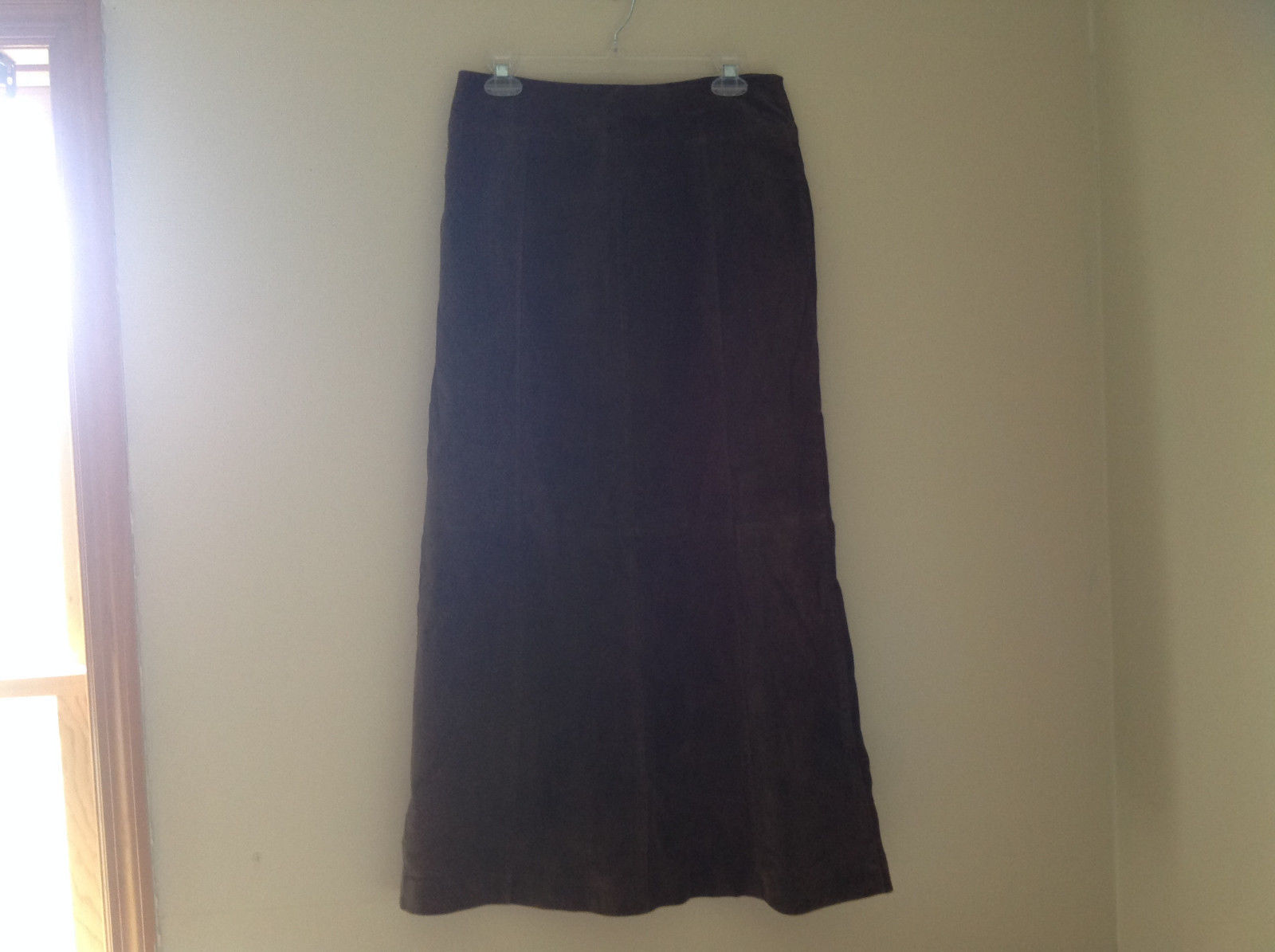 Massini Real Suede Leather Brown Long Length Skirt Zipper Closure Back Size 10