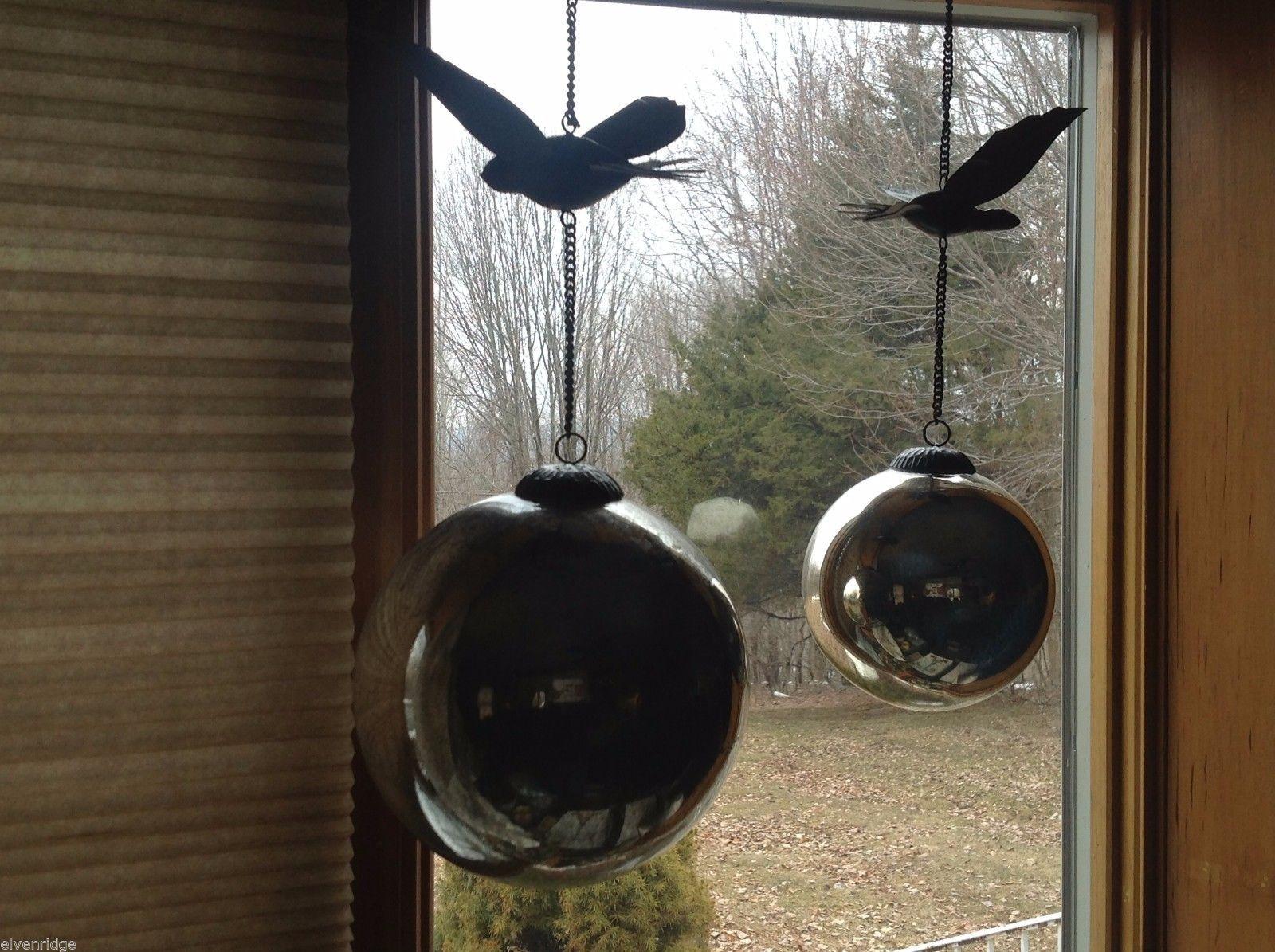 Massive Vintage Look Metallic Ball Ornament on Chain with Bird