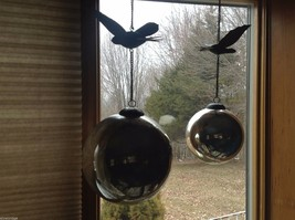 Massive Vintage Mercury Glass Look Ball Ornament on Chain with Metal Bird