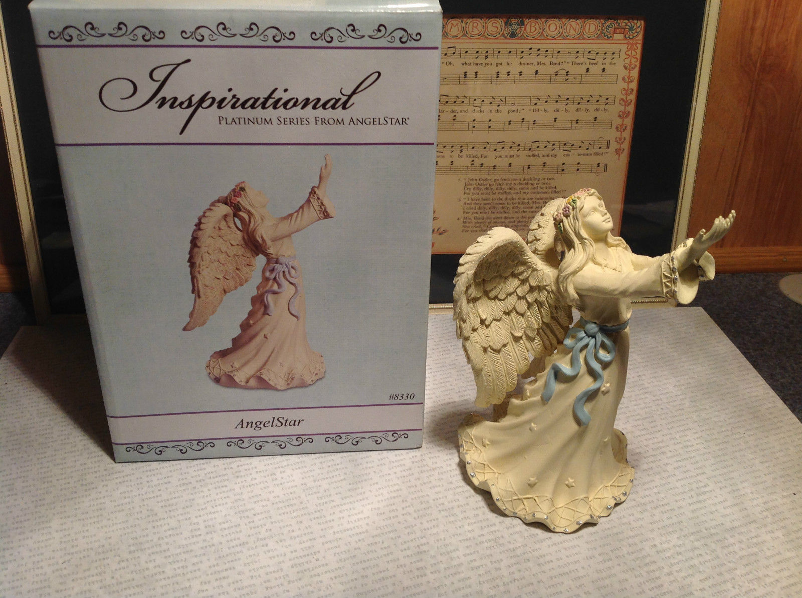 Inspirational Platinum Series Angel Star Resin Angel Figurine with Blue Sash Box
