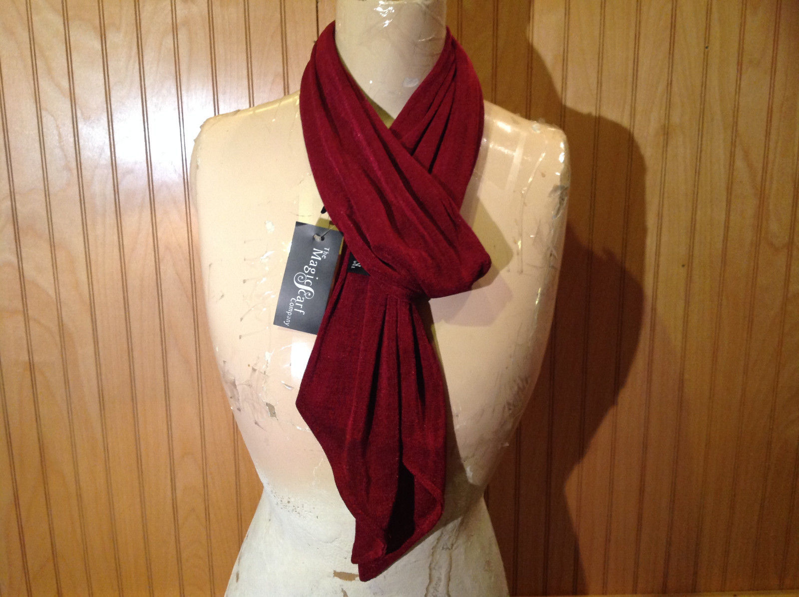 Maroon Fashion Scarf by Magic Scarf Company Angular Ends TAG ATTACHED