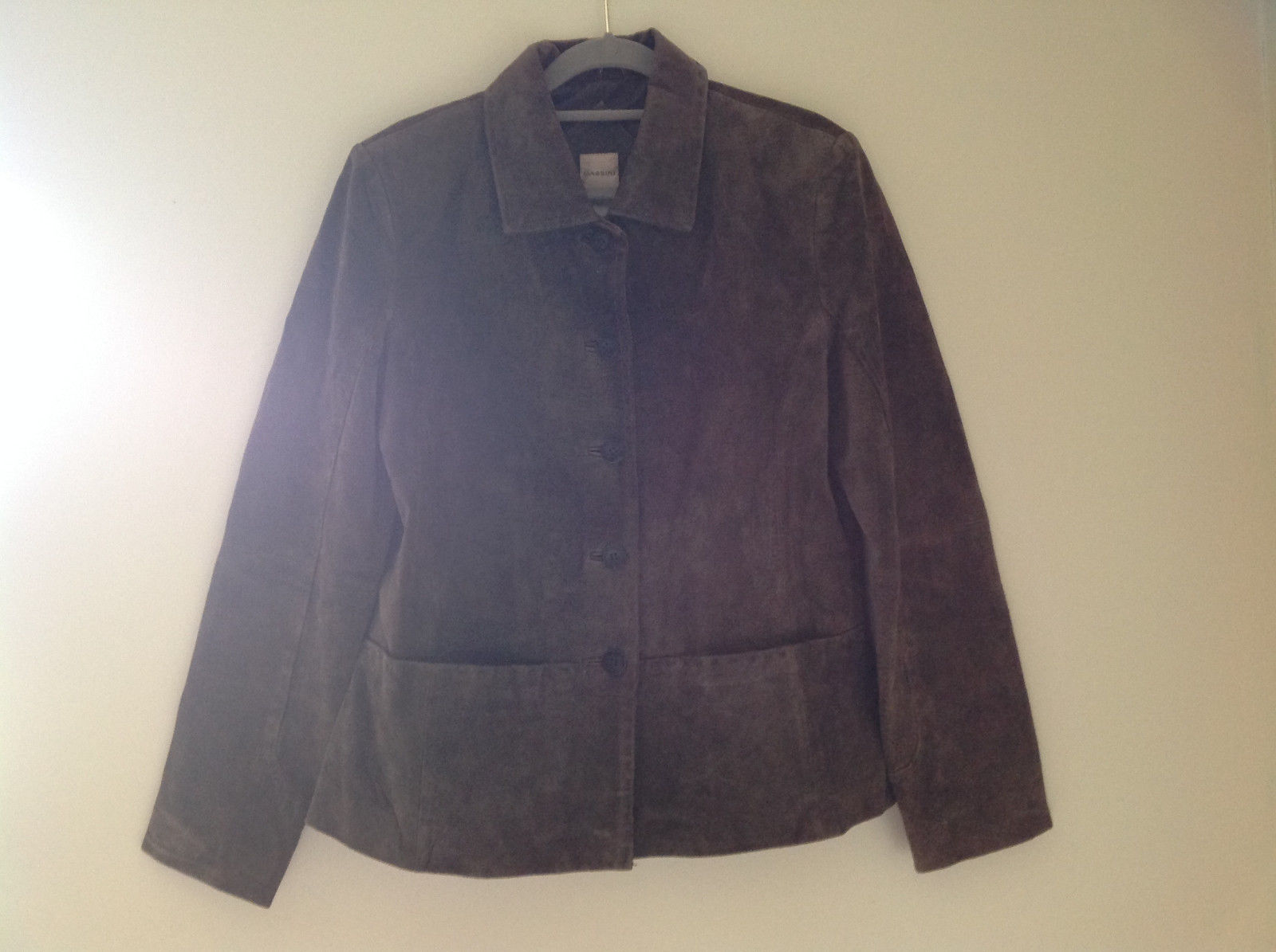 Massini Brown Real Suede Leather Button Up Blazer Jacket Front Pockets Size M