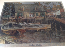 Harbor Shelter Print Painting Wall Decoration Gold Tone Frame Relief image 2