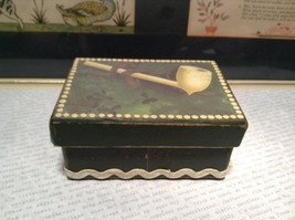Irish Trinket Box Pipe on Lid Heavy Duty Paperboard Green - $14.85