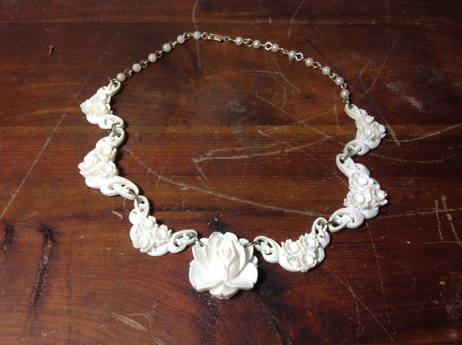 Intricate White Carved Necklace Flowers Adjustable Copper Alloy Links vintage
