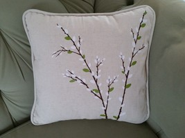 Harbinger of Spring Pussy Willow Canvas Square Porch Pillow Forest Lane Dept 56 image 2