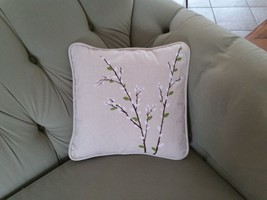 Harbinger of Spring Pussy Willow Canvas Square Porch Pillow Forest Lane Dept 56 image 4