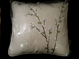 Harbinger of Spring Pussy Willow Canvas Square Porch Pillow Forest Lane Dept 56 image 6