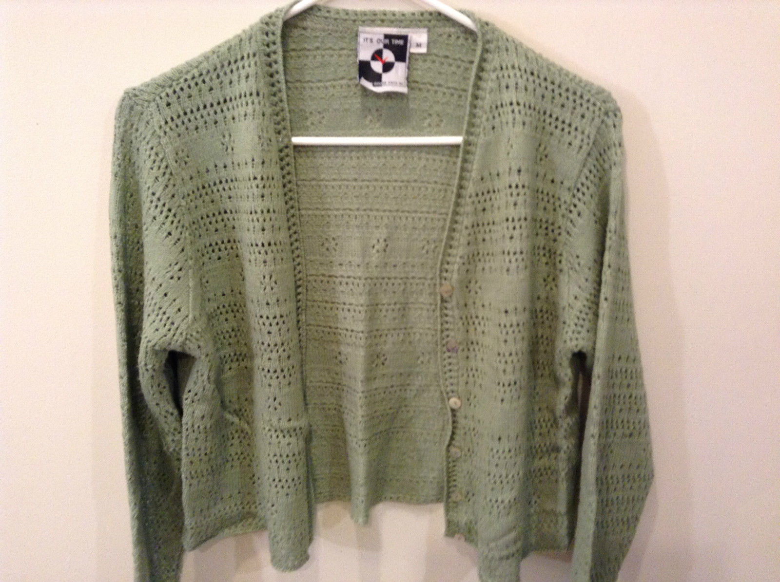 Its Our Time Long Sleeve Green Knitted Button Up Sweater Size Medium