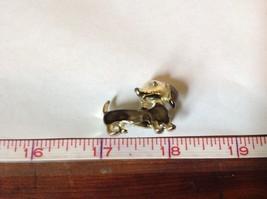 Light Gold Tone Weiner Dog Pin Brooch Gray Enamel Hinge Clasp Dachsund image 6